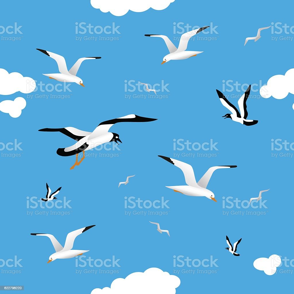 Gulls and clouds in the blue sky. Seamless. vector art illustration