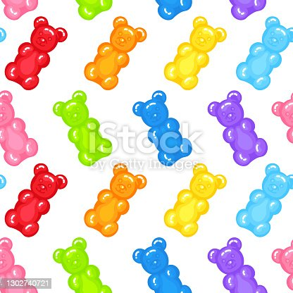 Gummy bear jelly sweet candy seamless pattern with amazing flavor flat style design vector illustration.