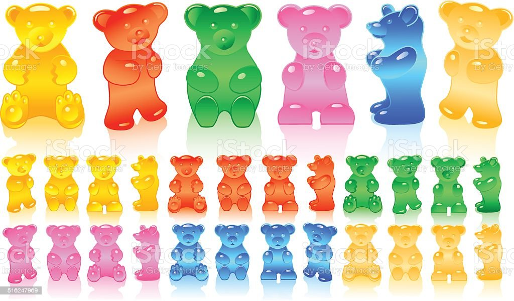 Gummy bears in different colors vector art illustration