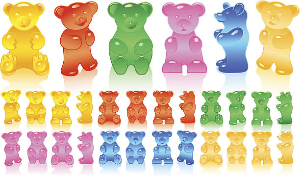 c9d8c4db9 Gummy bears in different colors vector art illustration