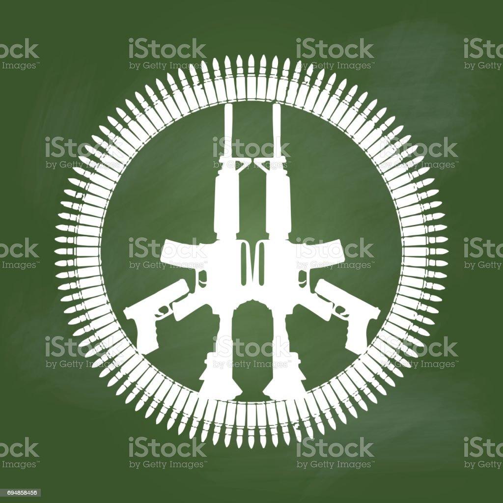 Gun and bullet in peace symbol on Green board -Vector illustration vector art illustration