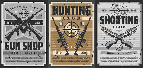 Gun and weapon target posters, hunting or shooting