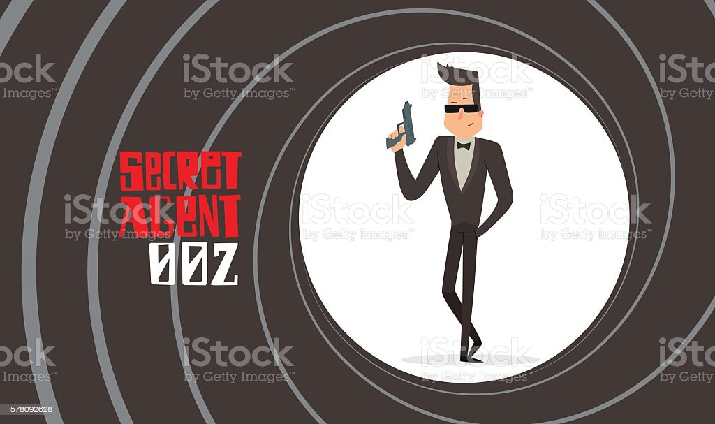 Gun barrel, secret agent in sunglasses with a handgun
