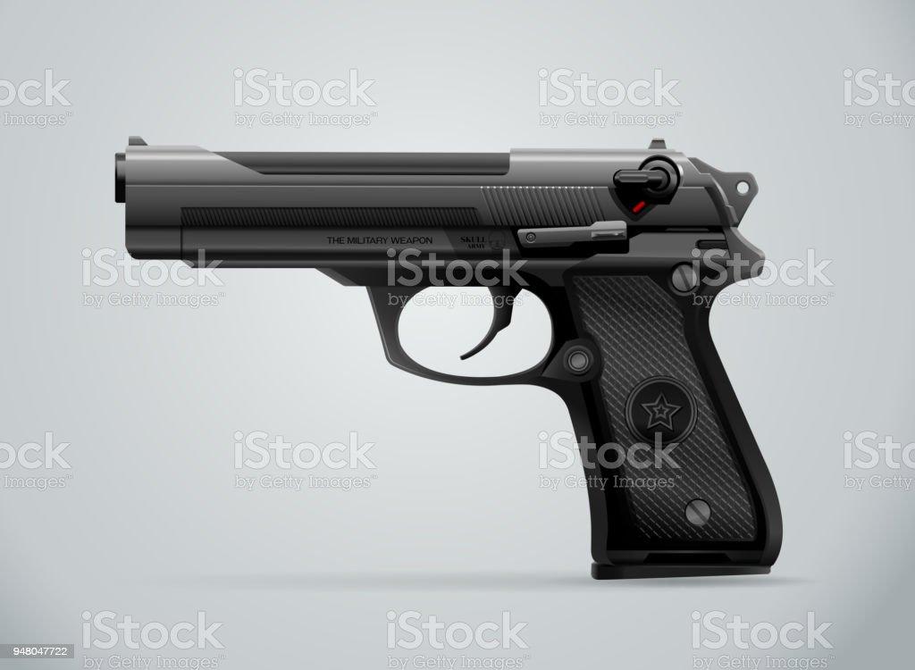 gun black metal weapon vector art illustration