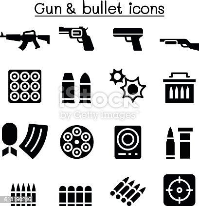 Gun & Bullet icon set