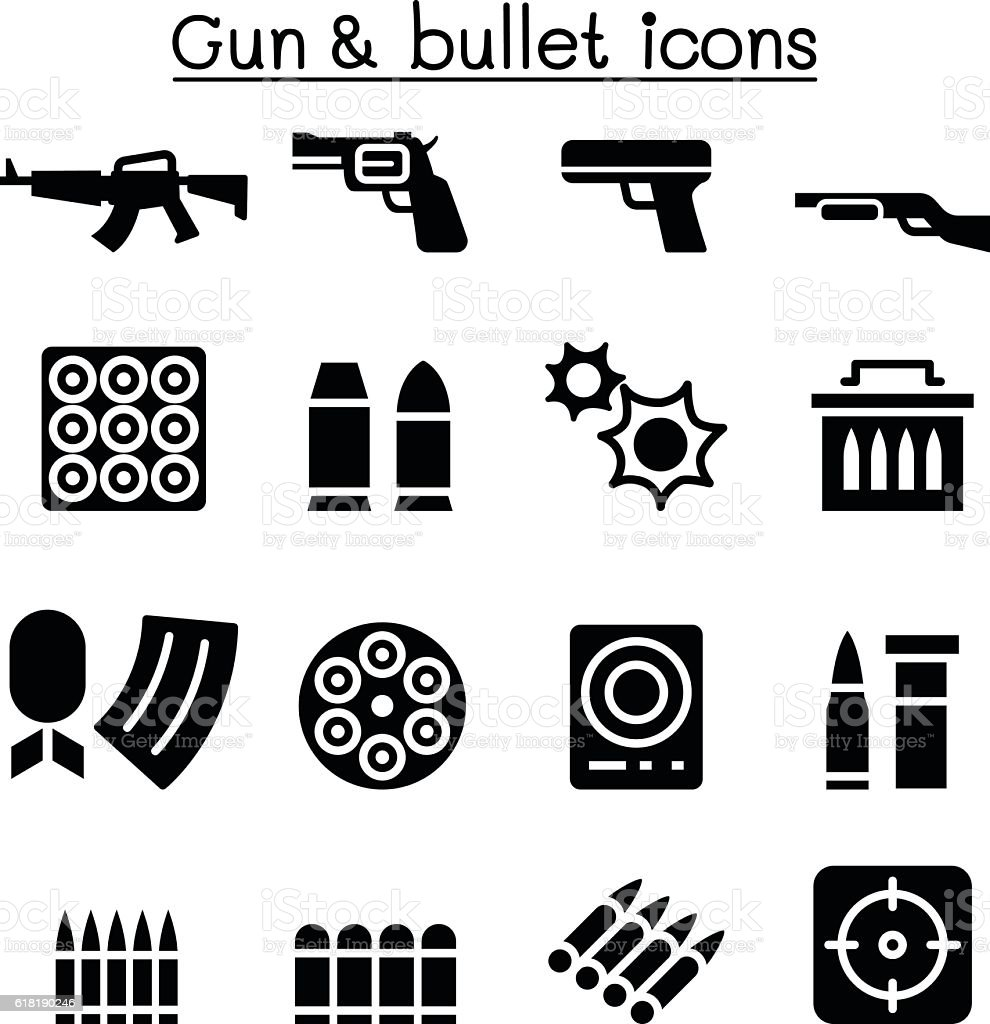 Gun & Bullet icon set vector art illustration