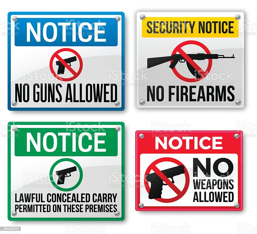 Gun Control and firearms Signs vector art illustration