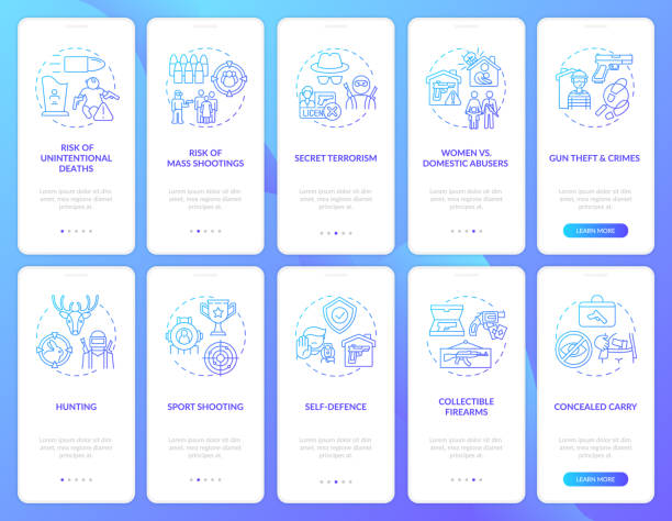 ilustraciones, imágenes clip art, dibujos animados e iconos de stock de control de pistola azul oscuro incorporación de la pantalla de la página de la aplicación móvil con conceptos - civil rights