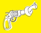 Gun control or pistol with tangled barrel