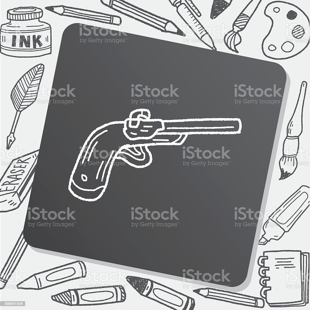gun doodle vector art illustration
