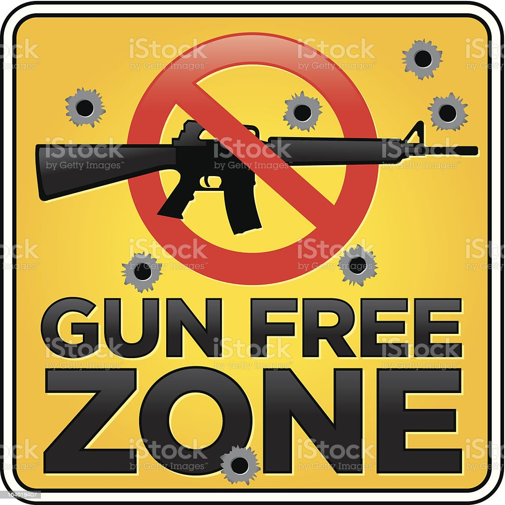 Gun Free Zone Assault Rifle Sign with Bullet Holes royalty-free gun free zone assault rifle sign with bullet holes stock vector art & more images of aiming