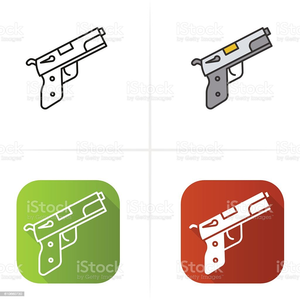 Gun Icon Flat Design Linear And Color Styles Stock Vector