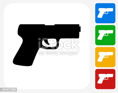 Gun Icon. This 100% royalty free vector illustration features the main icon pictured in black inside a white square. The alternative color options in blue, green, yellow and red are on the right of the icon and are arranged in a vertical column.