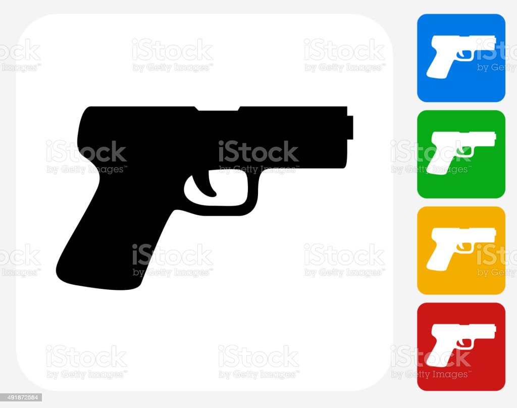 Gun Icon Flat Graphic Design vector art illustration