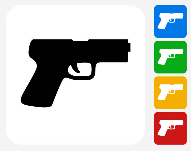 Gun Icon Flat Graphic Design Gun Icon. This 100% royalty free vector illustration features the main icon pictured in black inside a white square. The alternative color options in blue, green, yellow and red are on the right of the icon and are arranged in a vertical column. pistol stock illustrations