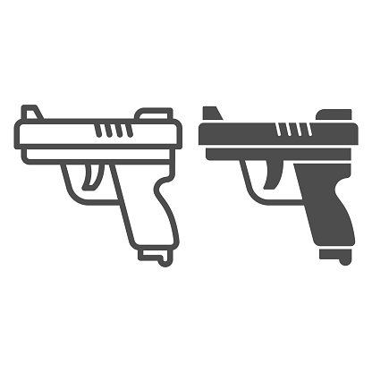 Gun line and solid icon, self defense concept, pistol sign on white background, firearms, weapon for shooters icon in outline style for mobile concept and web design. Vector graphics.