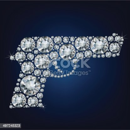 Gun made up a lot of diamonds on the black background