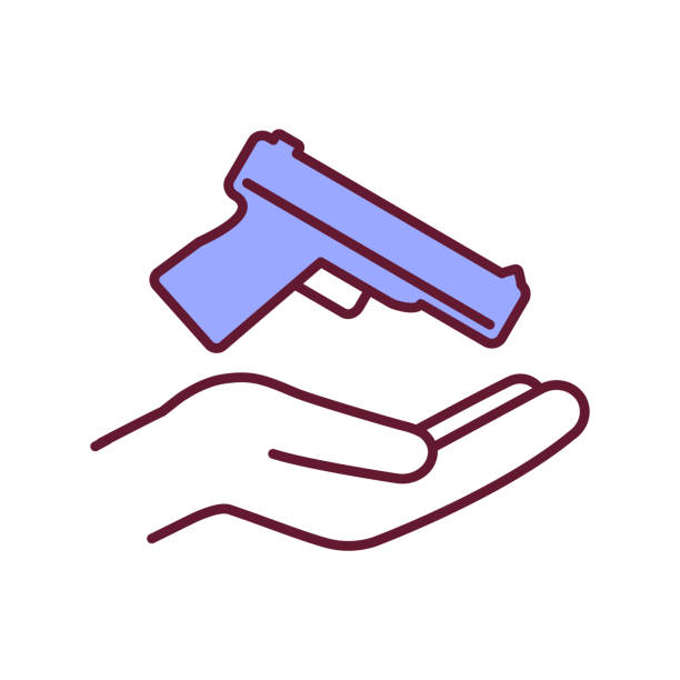 ilustraciones, imágenes clip art, dibujos animados e iconos de stock de icono de color rgb de propiedad de la pistola - civil rights
