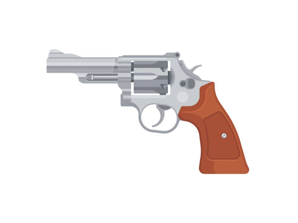Gun pistol revolver Gun pistol revolver isolated on white background. Vector illustration pistol stock illustrations