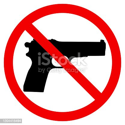 istock Gun Prohibition sign vector illustration 1204415494