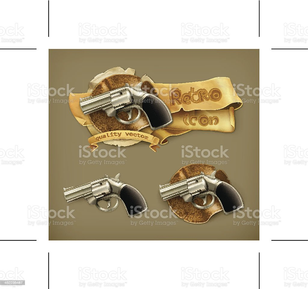 Gun, retro icon royalty-free gun retro icon stock vector art & more images of aggression