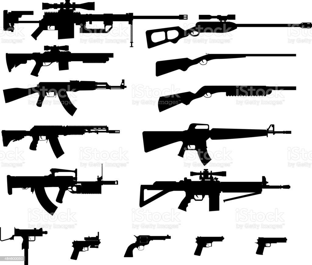 Gun set vector art illustration