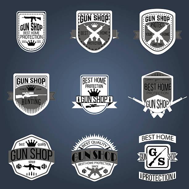 Gun shop logotypes and badges vector set Gun shop logotypes and badges  gun shop stock illustrations
