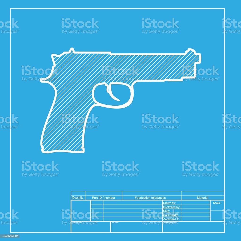 Gun sign illustration white section of icon on blueprint template gun sign illustration white section of icon on blueprint template royalty free gun malvernweather Choice Image