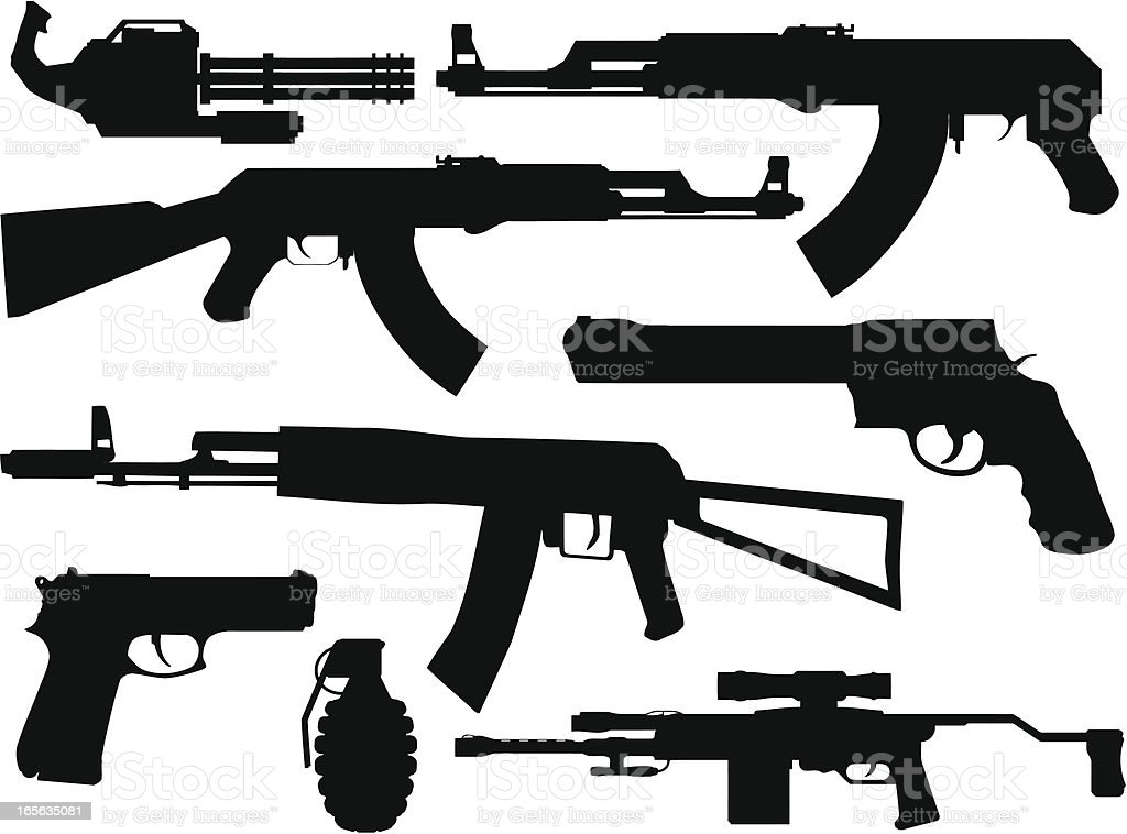 gun silhouette collection stock vector art more images of ak 47
