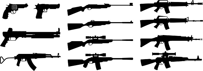 drawing of vector gun and rifle silhouette.This file was recorded EPS10 format.