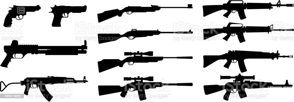 Gun silhouette on a white backing vector art illustration