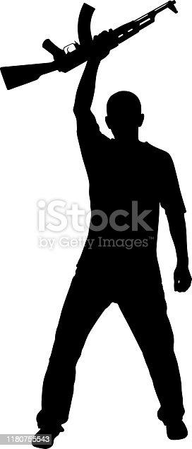 male with machine gun up