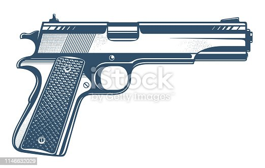 istock Gun vector illustration, detailed handgun isolated on white background. 1146632029