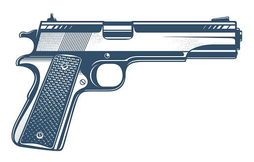 Gun vector illustration, detailed handgun isolated on white background.