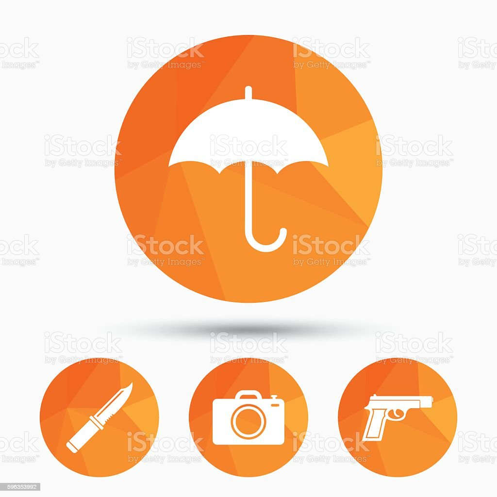 Gun weapon. Knife, umbrella and photo camera. royalty-free gun weapon knife umbrella and photo camera stock vector art & more images of at the edge of
