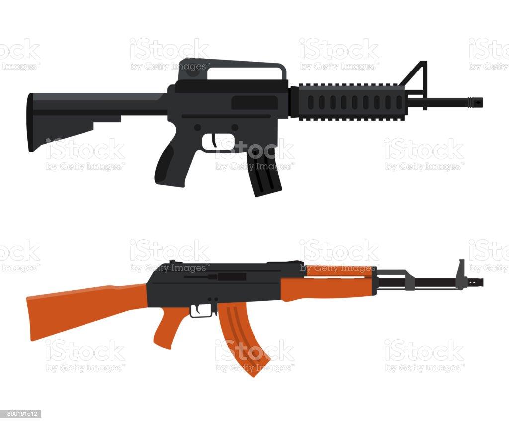 Gun Weapon. M16 amd AK47. Vector illustration
