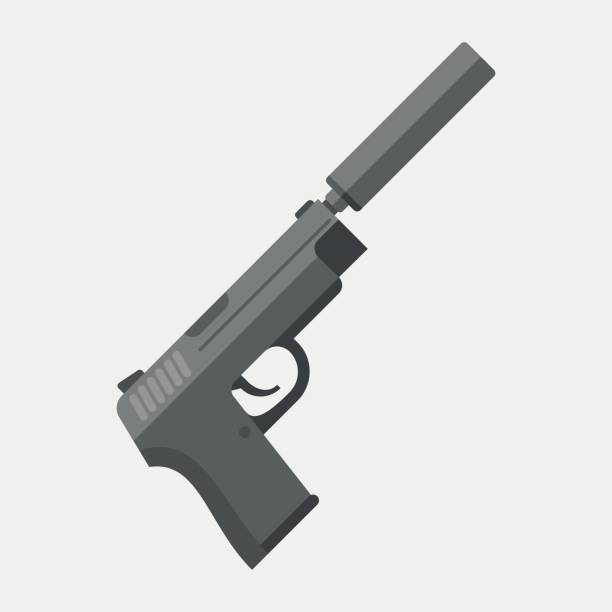 Gun with silencer isolated on white background. vector art illustration
