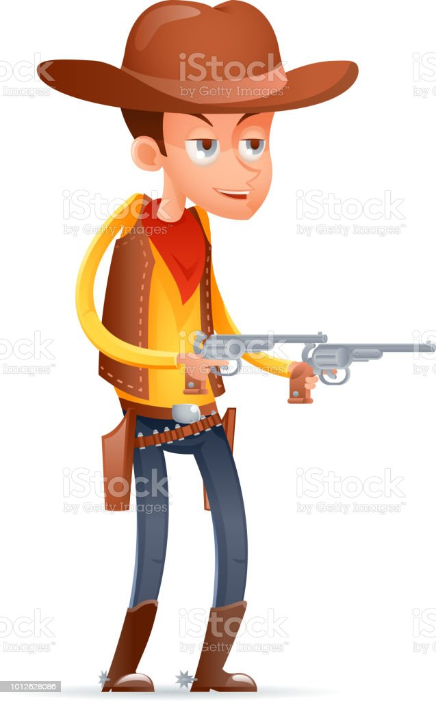 4fbe2d0b808 Gunman cowboy wild west american retro cartoon design character isolated  icon vector illustration - Illustration .