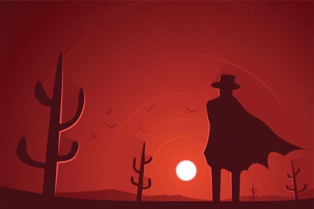 Gunman in the Desert Western Scene Gunman in the Desert Western Scene bandit stock illustrations