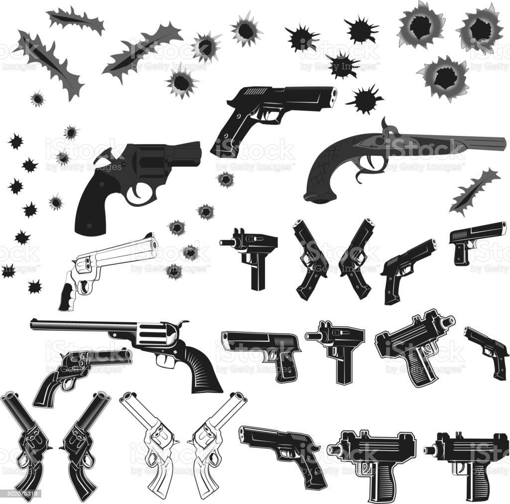 guns and bullet holes set vector art illustration