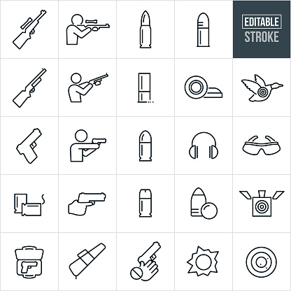 Guns And Bullets Thin Line Icons - Editable Stroke