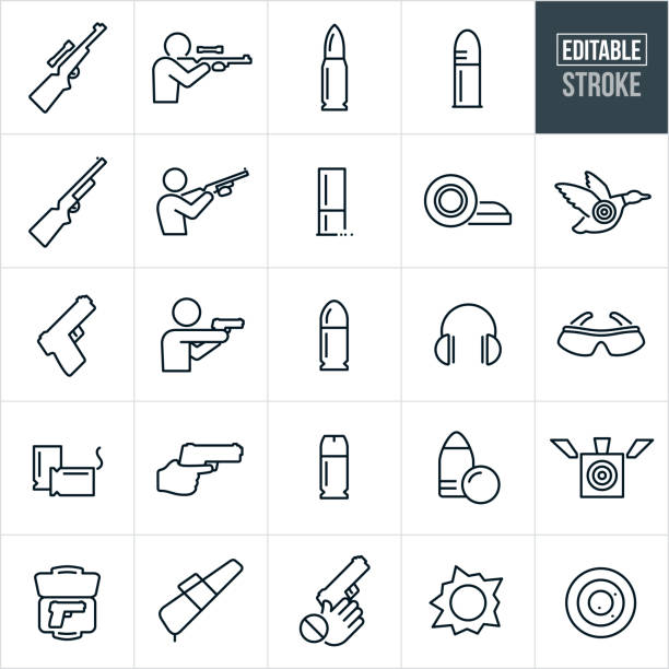Guns And Bullets Thin Line Icons - Editable Stroke A set of guns and bullets icons that include editable strokes or outlines using the EPS vector file. The icons include a rifle, shotgun, hand gun, different types of ammunition. They also include a person shooting a rifle, shotgun and hand gun. The icons also include a target, clay pigeons, ear and eye protection, gun cases and a child safety icon. ammunition stock illustrations