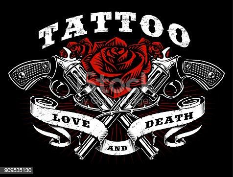 istock Guns and roses tattoo design. 909535130