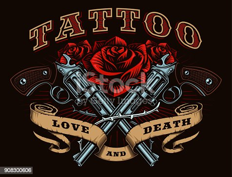 istock Guns and roses (color version) 908300606