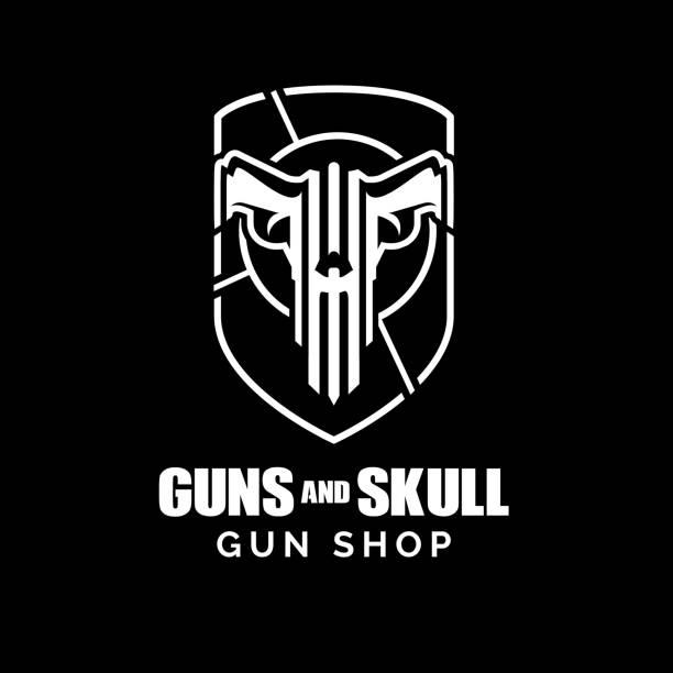 Guns and Skull concept Guns and Skull concept vector weapon stock illustrations