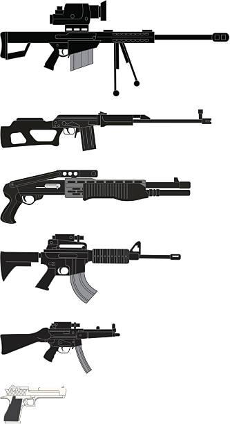 Guns Illustration of five different guns: .50 cal sniper rifle, assualt rifle, SPAS 12 shotgun, AR 15/M16, MP5k sub-,achine gun and a desert eagle .50 ar 15 stock illustrations