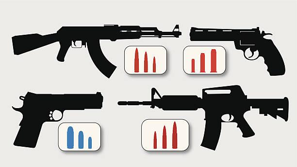 Guns Illustration of several gun rifle and hand gun designs. Designs revolve around the AK-47, AR-15, ar 15 stock illustrations