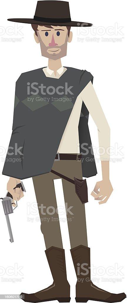 Gunslinger ready to shoot royalty-free stock vector art