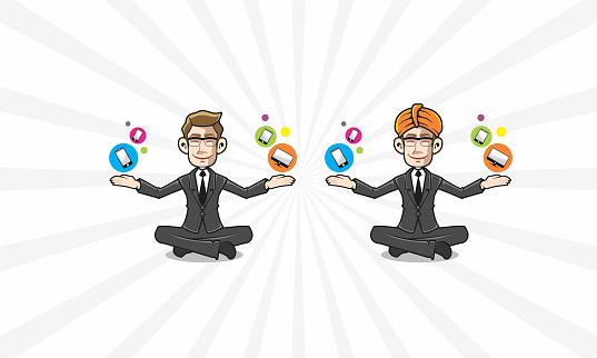 Guru Business Gadget Meditation Logo Vector Icon Stock ...