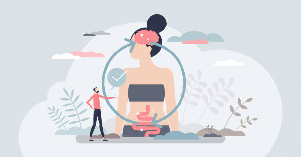 Gut brain connection and mental body digestive regulation tiny person concept vector art illustration